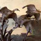 Hunting Wildlife A Flock of Flying Ducks Bronze Sculpture