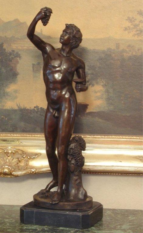 Nude Dionysus God of the Grape Harvest Bronze Sculpture