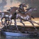 Three Running Stallions Horses Bronze Sculpture