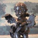 Cherub Angel Playing the Harp Bronze Sculpture