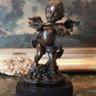 Cherub Angel Playing the Violin Bronze Sculpture