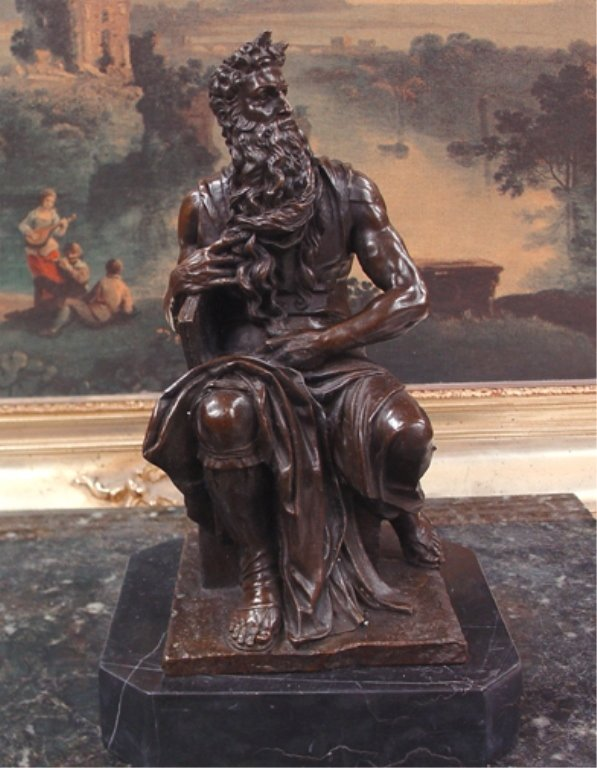 Michelangelo's Biblical Moses Bronze Sculpture