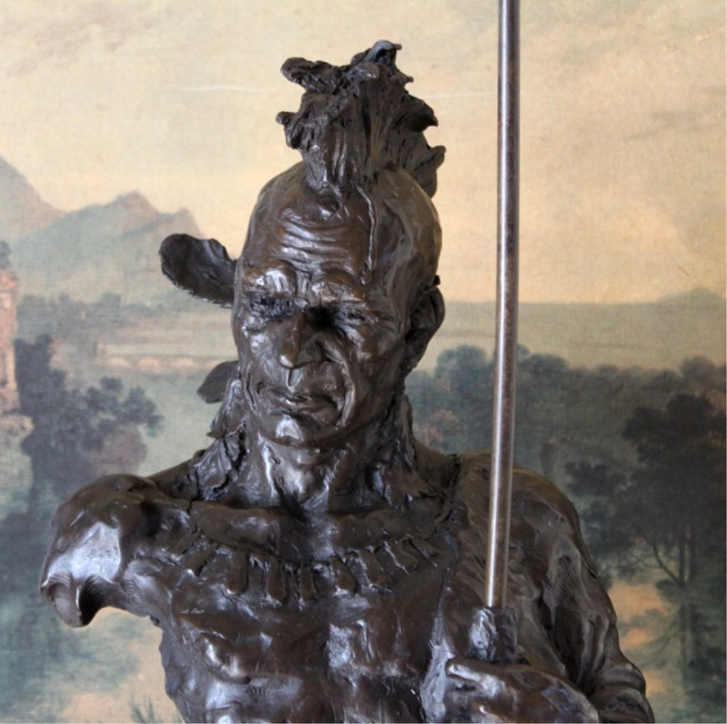 Massive Native American Indian Bronze Bust Sculpture