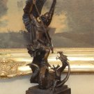 Greek God Apollo Dragon Slayer Bronze Sculpture
