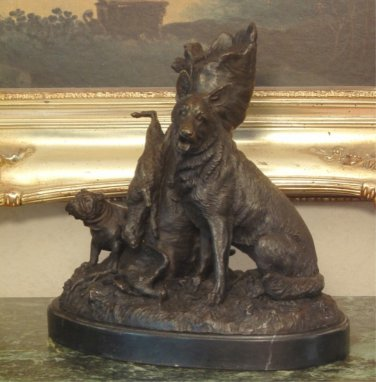 Hunting Dogs Bronze Sculpture