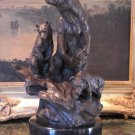 Wildlife Mother Bear & Cubs Bronze Sculpture