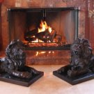 PAIR Roaring Lions Bronze Sculpture