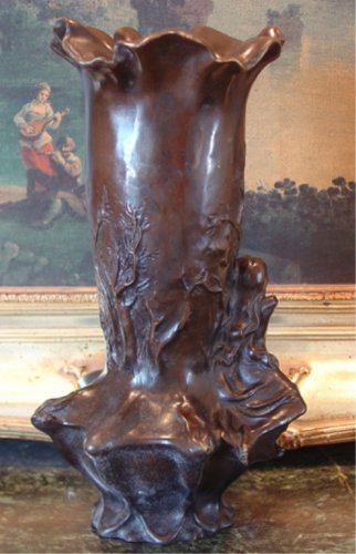 Abstract Nude Female Bronze Vase After Chiparus