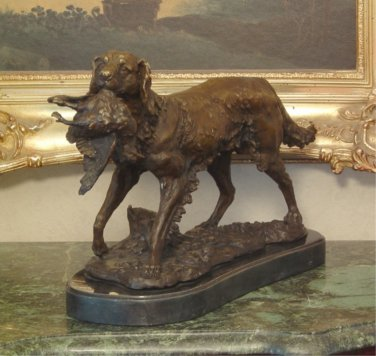 Hunting Retriever Dog with Fowl Bronze Sculpture