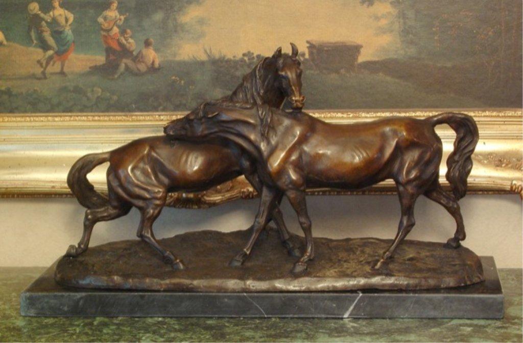 Huge Equestrian Horse Play Bronze Sculpture