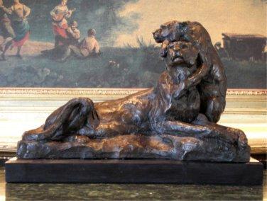 Wildlife Lioness with Cub Bronze Sculpture