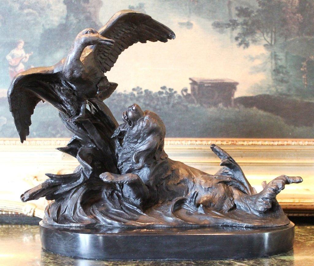 Flushing Retriever Hunting Dog Bronze Sculpture
