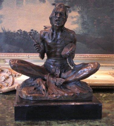 Seated Native American Indian Bronze Sculpture