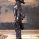Nude Nymph & Cherub Angel Bronze Sculpture