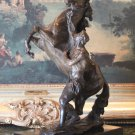 Equestrian Rearing Horse and Man Bronze Sculpture
