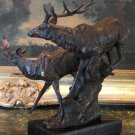 Wildlife Pair of Elk Running Bronze Sculpture
