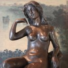 Elegant Nude Woman and Dog Bronze Sculpture
