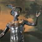Nude Roman Mythology Hermes Mercury and Caduceus Bronze Sculpture