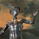 Nude Roman Mythology Hermes Mercury and Caduceus Bronze Sculpture