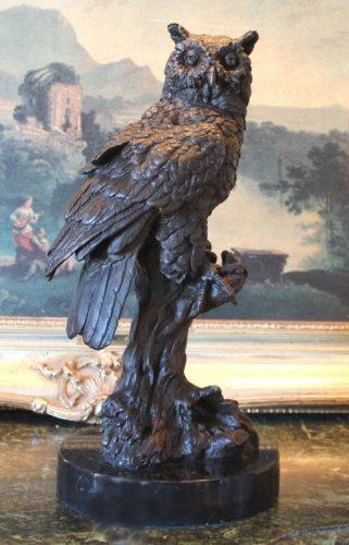 Owl Bird of Prey on a Branch Bronze Sculpture