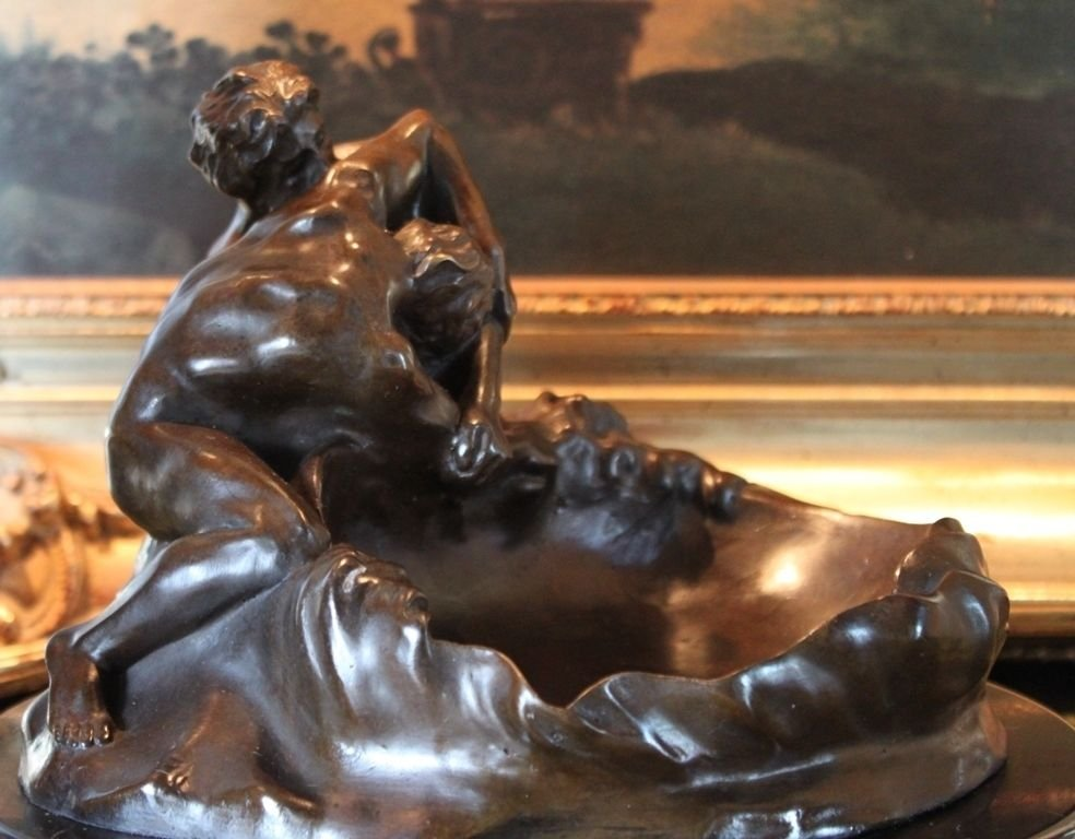 Erotic Nude Gay Male Lovers Bronze Bowl