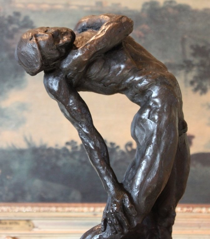 Erotic Reclining Nude Male Bronze Sculpture