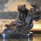 Wildlife Grizzly Bear Mother & Cub Bronze Sculpture