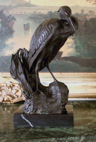 Great Heron Wet Lands Wading Bird Bronze Sculpture