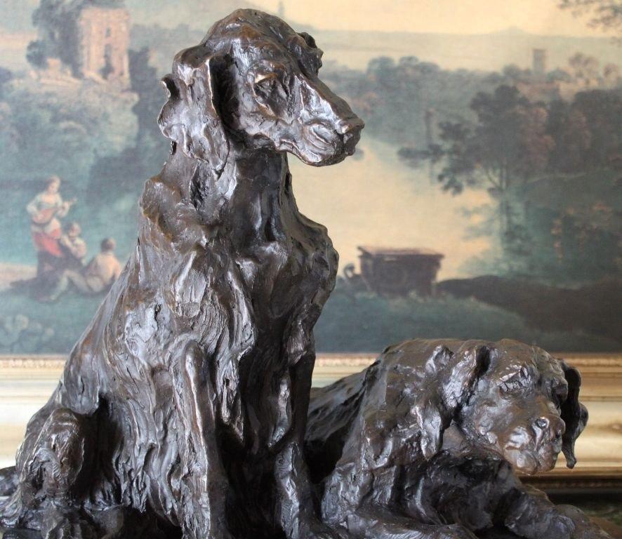 Huge Pair of Retriever Dogs Bronze Sculpture