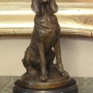 Sitting Hunting Hound Dog Bronze Sculpture