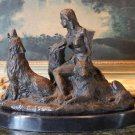 Native American Lakota Folklore Woman & Her Wolves Bronze Sculpture