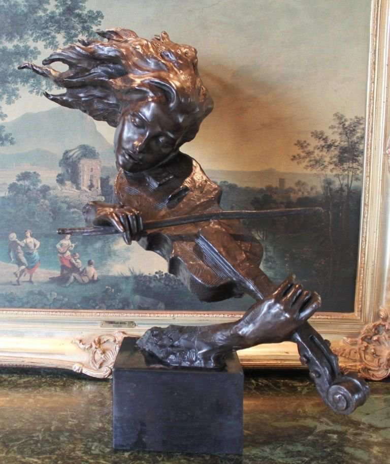 Violin Player Bust Bronze Sculpture