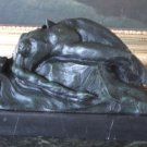 Erotic Nude Reclining Woman Green Patina Bronze Sculpture