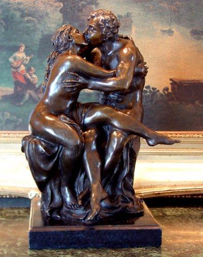 Kissing Lovers Bronze Sculpture