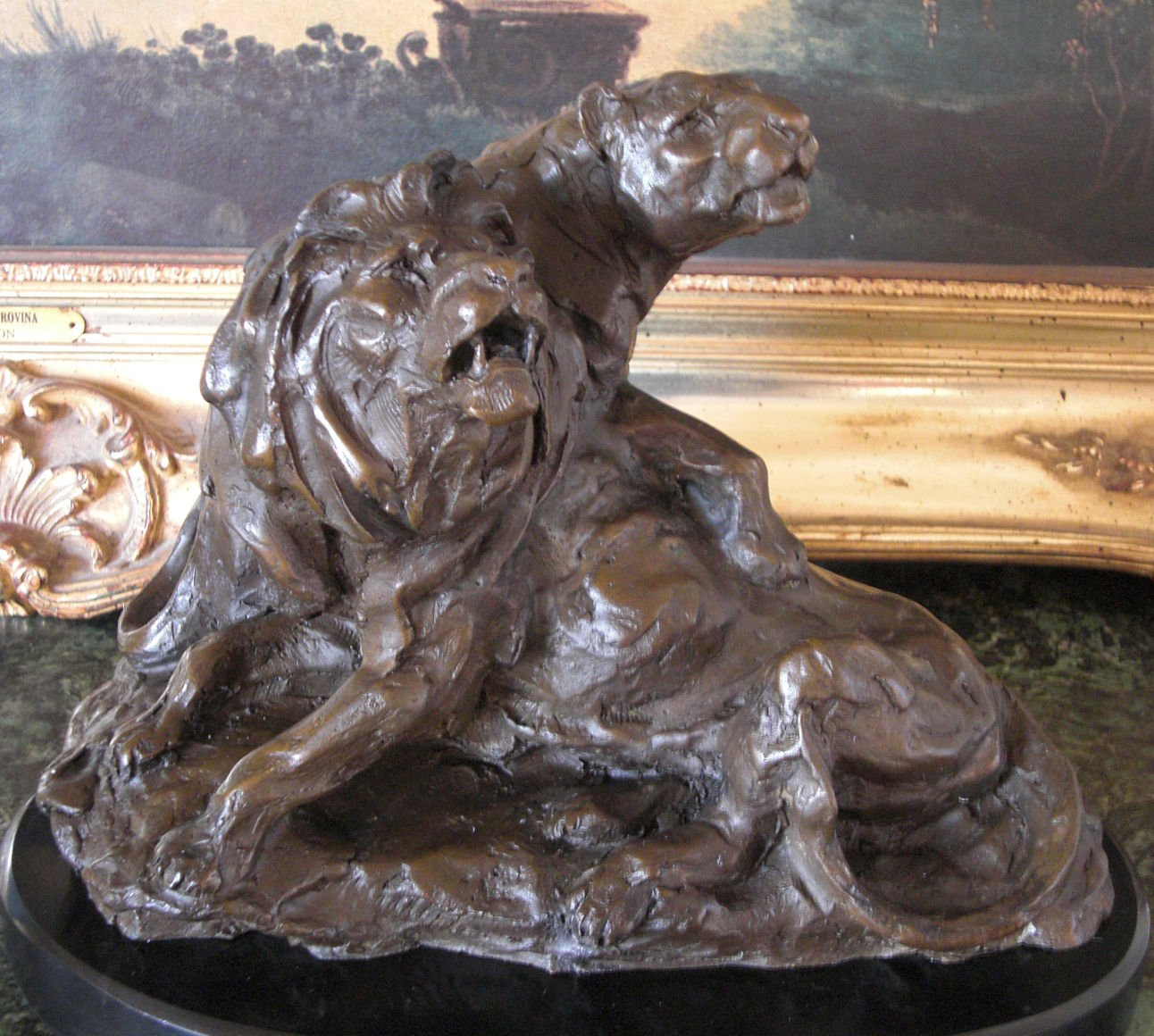 Wildlife Lion and Lioness Every King Needs a Queen Bronze Sculpture