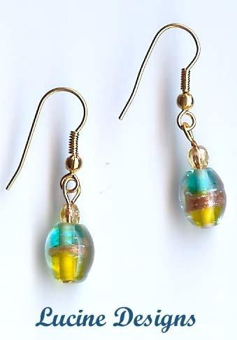 Blue Lampwork Glass Earrings By Lucine (#2008e)