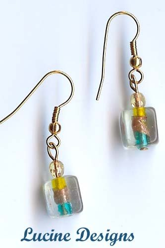 Square Lampwork Glass Earrings By Ucine (#2001e)