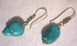 Turquoise sterling silver drop fashion earrings free shipping