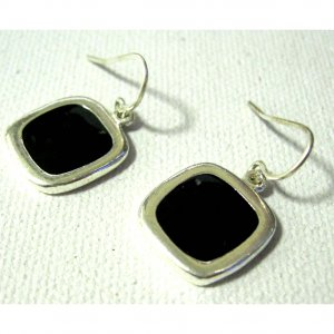 Black and silver fashion drop trendy earrings Free sh/h