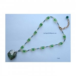 On Sale: Green fashion designer necklace with pendant,