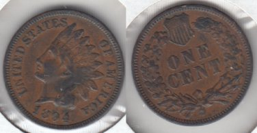 PLEASING VF-XF 1894 INDIAN CENT