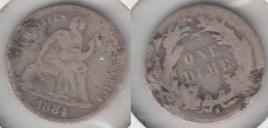1884S SEATED DIME  SCARCE LOW MINTAGE DATE