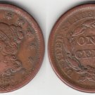 1857 LARGE CENT XF DETAIL
