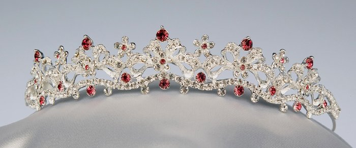 Silver / Garnet Rhinestone Tiara
