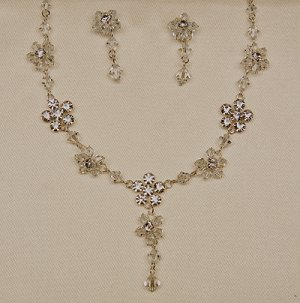Crystal/Silver Necklace and Earrings Set (Style # 929)