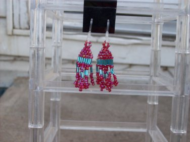 Hypoallergenic Red AB & Turquoise Dangle Earrings