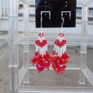 Handmade Red & White Heart Earrings