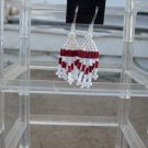 Handmade Hypoallergenic Red & White Dangle Earrings