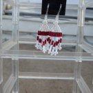 Handmade Hypoallergenic Red & White Dangle Earrings