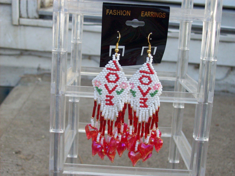 Handmade Love Earrings W/Gold Ear Hooks